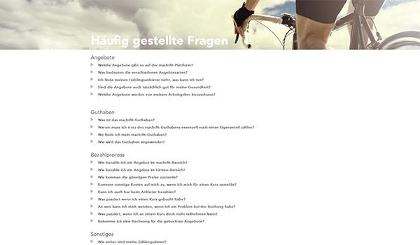 Screenshot Häufige Fragen
