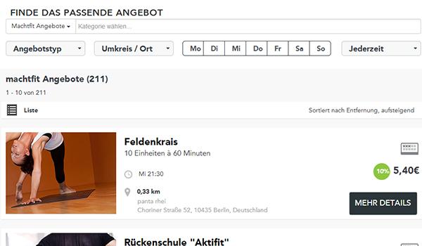 Screenshot Suche, Liste